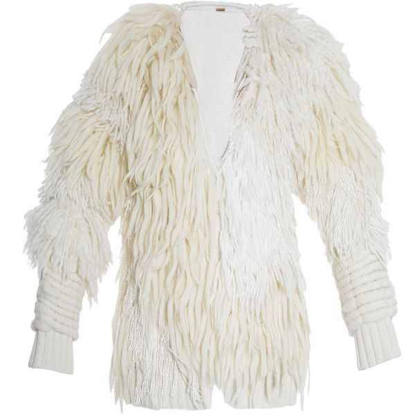 ADAM LIPPES Wool Cardigan ($3,591) ❤ liked on Polyvore featuring tops, cardigans, asymmetrical cardigan, tiered top, white wool cardigan, cream top et white cardigan
