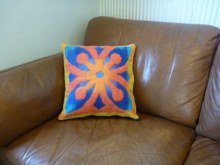 Hand felted cushion