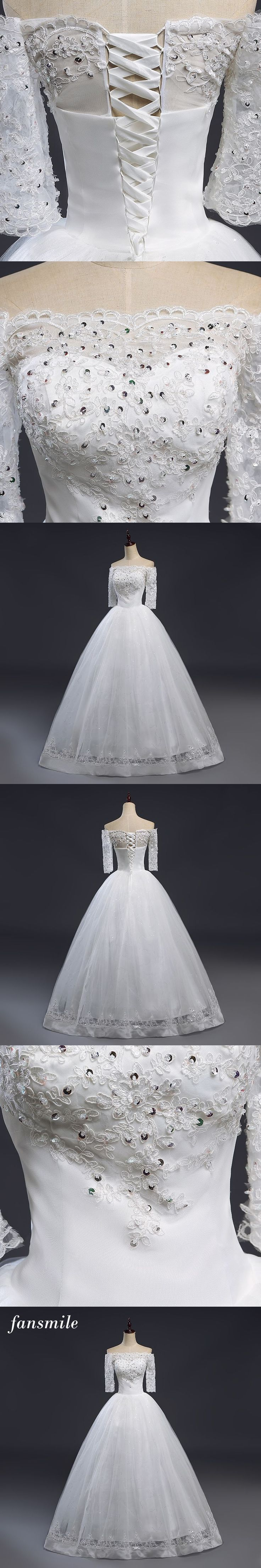Fansmile Backless Frobes De Mariee Lace Up Ball Gown Wedding Dresses 2017 Plus Size Bridal Dress Wedding Gown Real Photo #plussizeweddingdresses