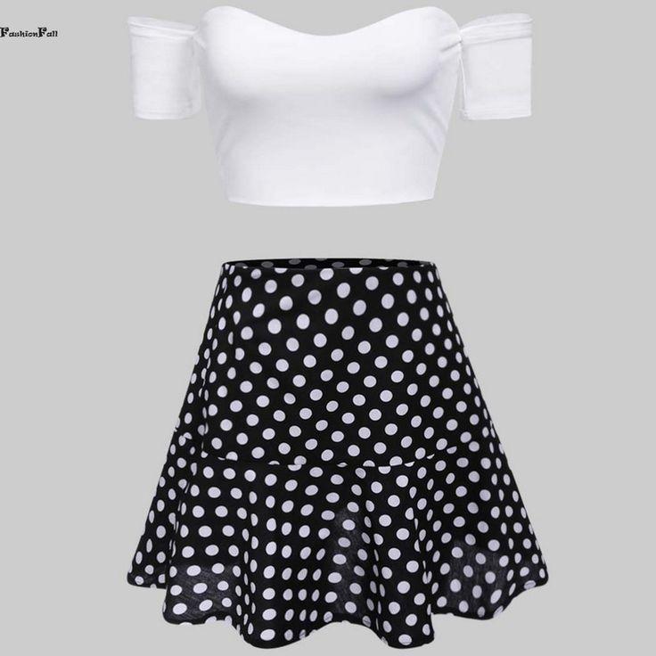 Women 2 Piece Set Strapless Cold Off Shoulder Crop Tops + Backless Slim Fit Mini Polka Dot Dress Club Dresses 2016 XL 15