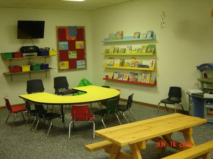Church Nursery Ideas   I Like The Shelves And Bins Around The TV As Well As  The Bookshelf