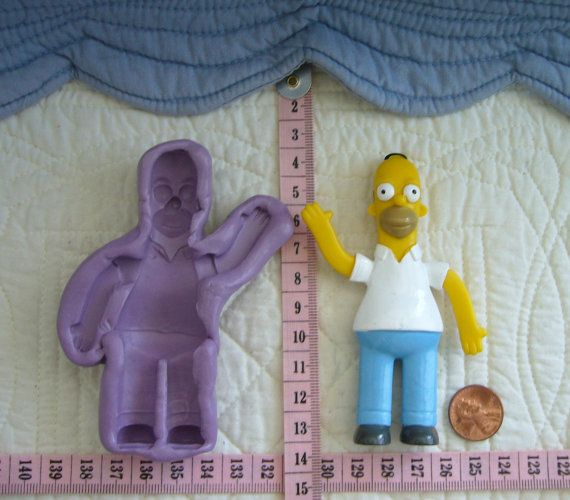 Homer Simpson inspired, Food Grade Silicone Mold Cake Fondant Gum Paste Pastillage Chocolate Marzipan Candy or Resin Plaster Clay DIY by MoldCreationsNmore on Etsy.com