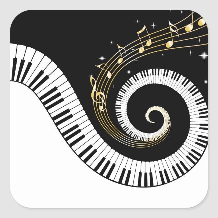 Piano Keys And Gold Music Notes Square Sticker Zazzle Com Music Event Music Notes Piano Keys