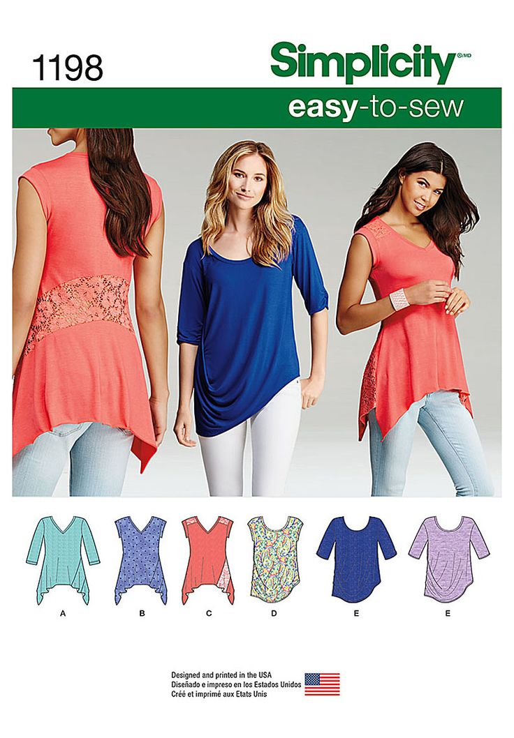 Misses' V-neck knit top pattern has sleeve variations, optional contrast yoke and panel with asymmetric hemlines. The scoop neck knit top has sleeve options and a beautifully draped hemline. Simplicity easy-to-sew pattern.