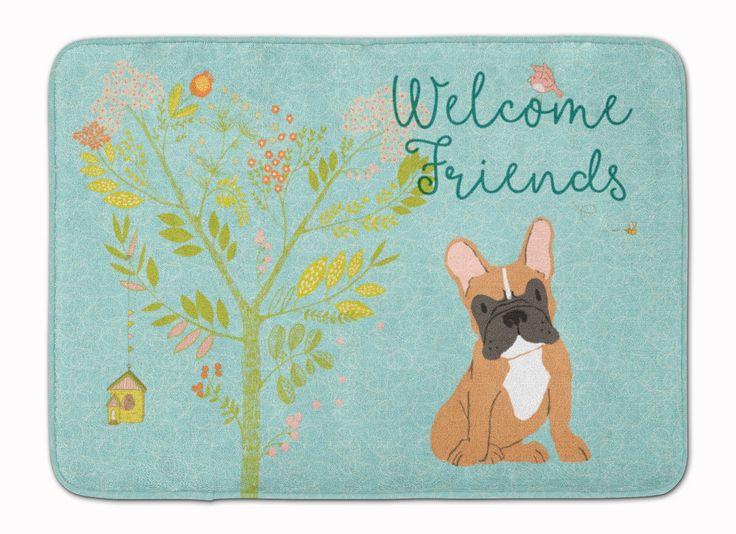 Welcome Friends Fawn French Bulldog Machine Washable Memory Foam Mat BB7633RUG