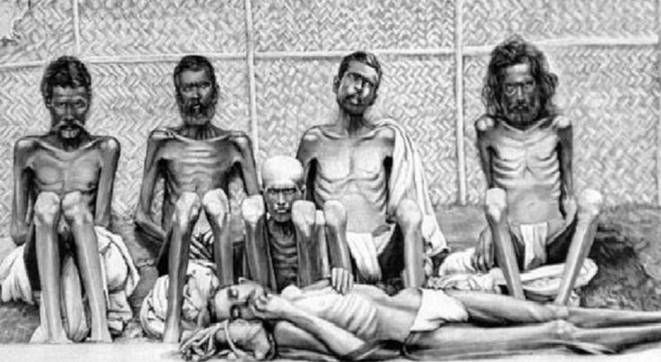 BBC remembers - a famine in India under British rule that killed over a million people. BBC says.. famines were not uncommon before British occupation, but increased after, because the Brits destroyed India's textile industry & their economy; & 1 in 3 people died. The policy of the British was that govt intervention in famines was unnecessary & harmful, because the market would restore a proper balance. - Sound familiar? (Typical Republican policy in dealing w/ poverty.) They LET them die.