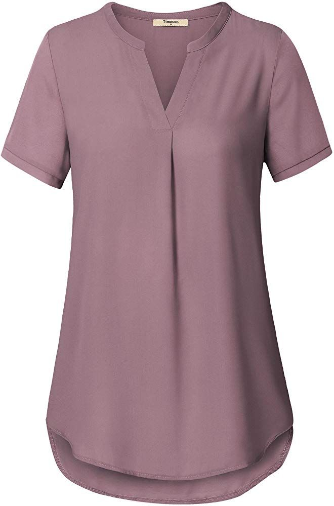 Timeson Womens V Neck Short Sleeve Curved Hem Sheer Chiffon Blouse Shirts Tops