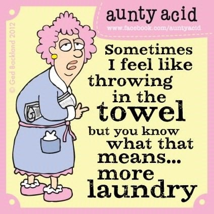 Sometimes I feel like throwing in the towel but you know what that means... more laundry.  ~Aunty Acid
