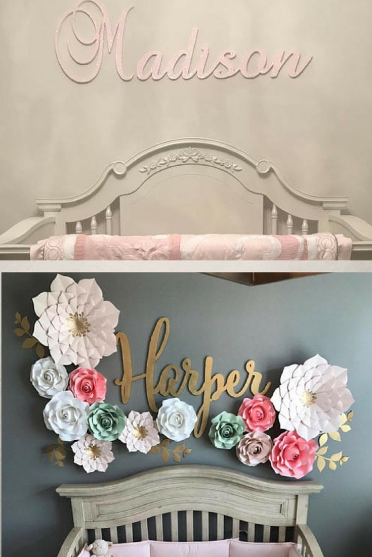 Cool cursive decal! This  is a great idea for name décor for my baby girl's nursery ♡ Maybe I could DIY this wood sign… But this one is $35+! #ad