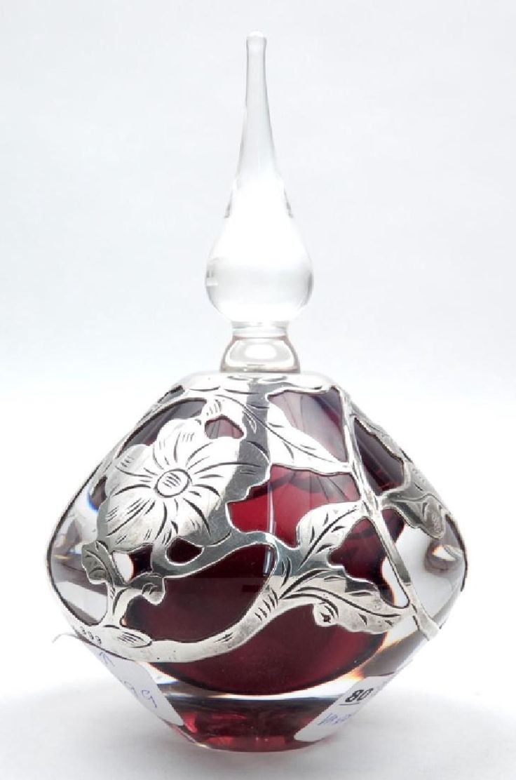 Signed Vandermark crystal and sterling silver perfume