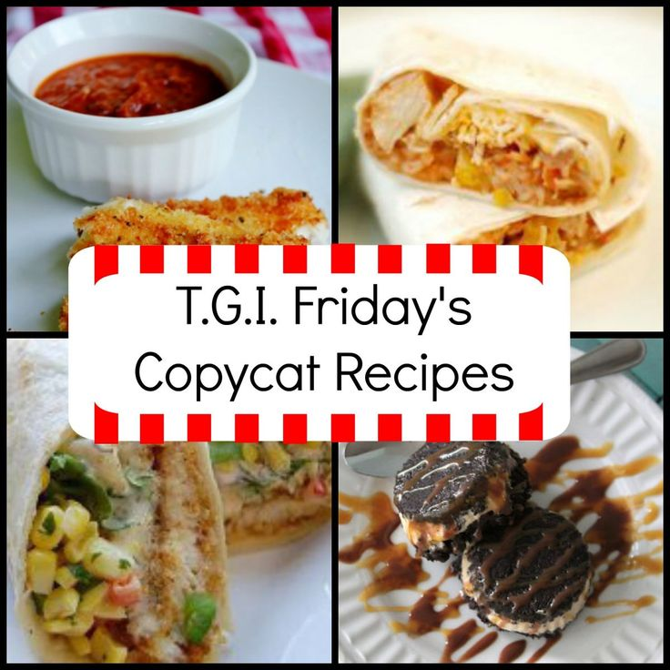T.G.I. Friday's Copycat Recipes   I love TGI Friday's and I can't wait to make these homemade versions! What great copycat recipes!