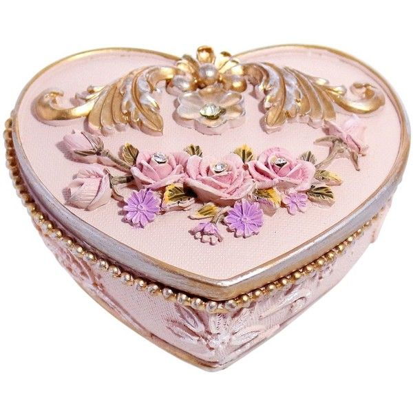 Adorable Retro Resin Heart Shaped Jewelry Trinket Keepsake Storage Box... (363.115 VND) ❤ liked on Polyvore featuring home, home decor, pink home decor, lidded storage boxes, retro home accessories, pink storage boxes and heart home decor