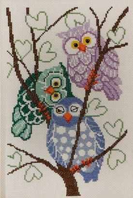 Owls in Cross Stitch by Permin of Copenhagen