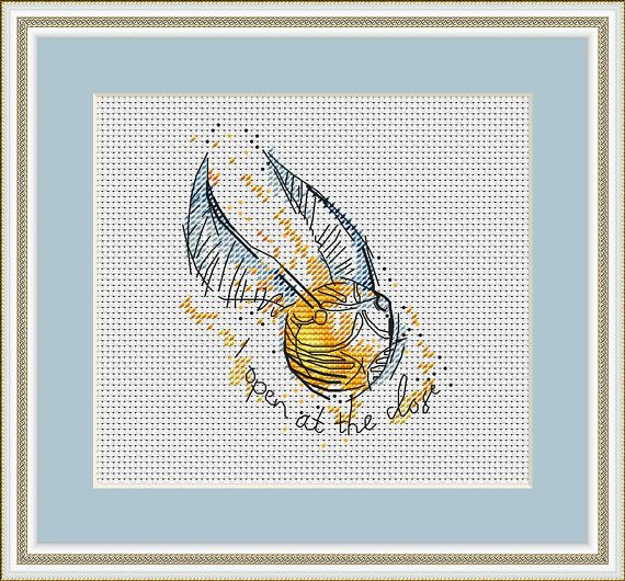 Snitch Cross stitch pattern PDF for instant download Digital counted cross stitch chart Watercolor Cross stitch design Hogwarts Harry Potter