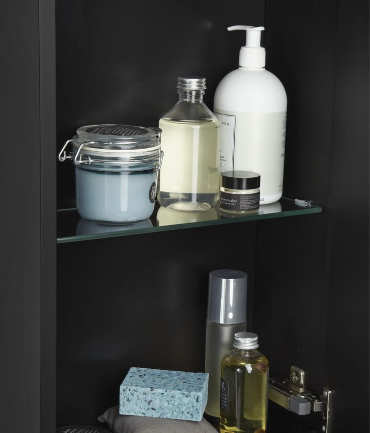 Zaro black rubber wall cabinet with glass shelves.
