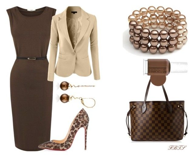 Chocolate Rain by flybeyondtheskies on Polyvore featuring polyvore, fashion, style, Oasis, Christian Louboutin, Louis Vuitton, Belk & Co., Essie and clothing