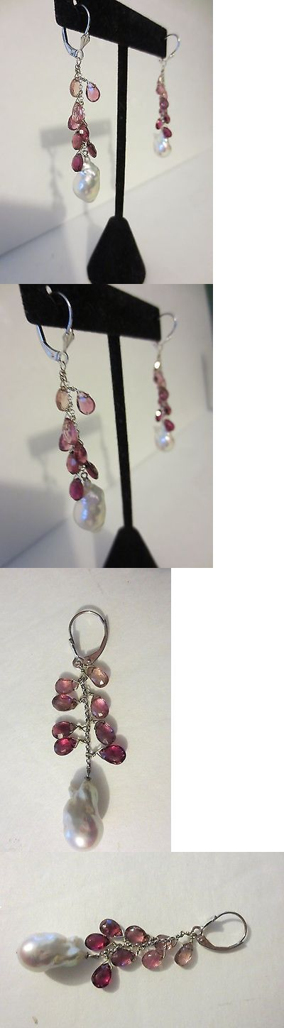 Pearl 10990: 14K White Gold Freshwater Cultured Pearl And Tourmaline Earrings - 2 Long - New -> BUY IT NOW ONLY: $281.04 on eBay!