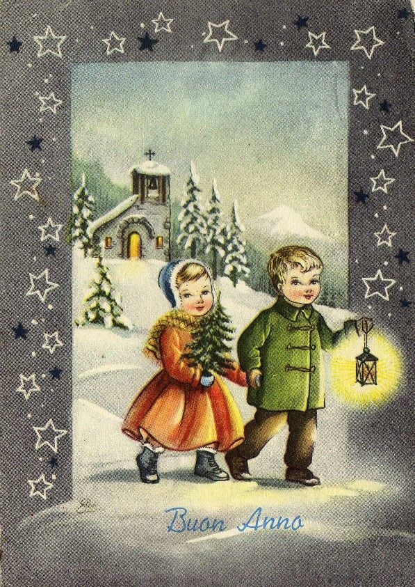 Vintage Miss Jane Christmas Card ~ Orange Accents