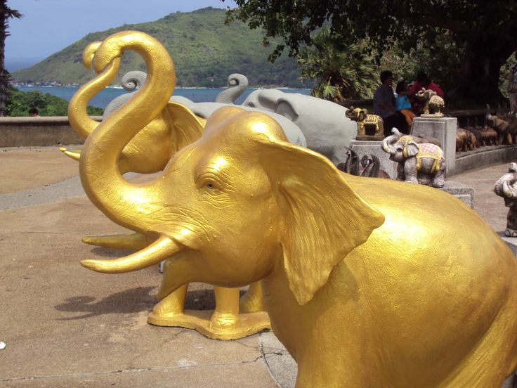 Gold elephant with raised trunk for luck. :)