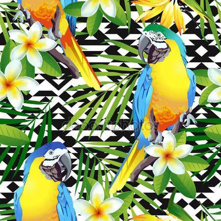 İndir - Tropikal kuşlar.  Renkli papağan ve egzotik çiçekler.  Vektör - Stok # 135846876 gösterimi