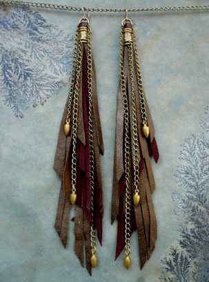 leather fringe  chain with end findings....diy earring inspiration
