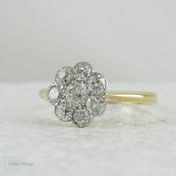Antique Daisy Diamond Engagement Ring Flower Cluster Ring