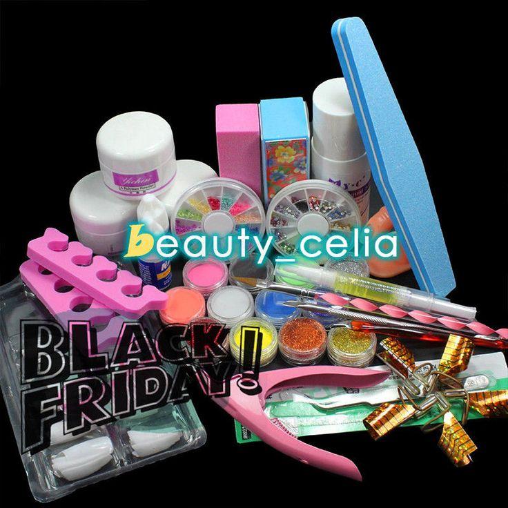 12PC Acrylic Powder Liquid Glitter French Nail Art Tips Glue Brush File Kit Set in Health & Beauty, Nail Care, Manicure & Pedicure, Manicure/Pedicure Tools & Kits | eBay
