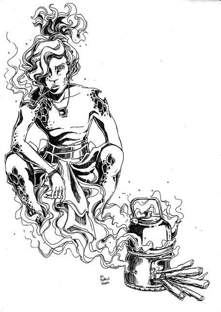 imagining Ki kebul keren -- earthen stove's spirit, #endah #pamulatsih