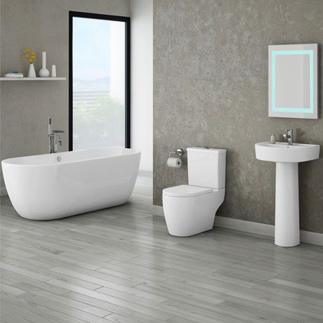 Bianco Double Ended Curved Freestanding Bath Suite