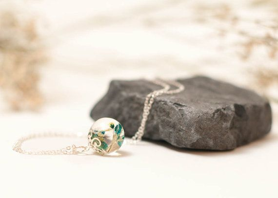 Blue Babies Breath Globe Necklace Real Pressed by LomharaJewellery