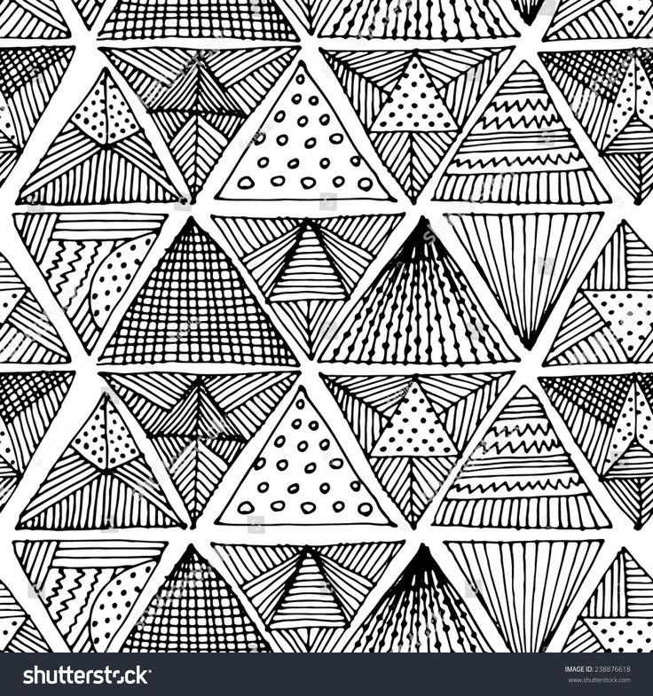 Abstract seamless pattern with triangles. White and black