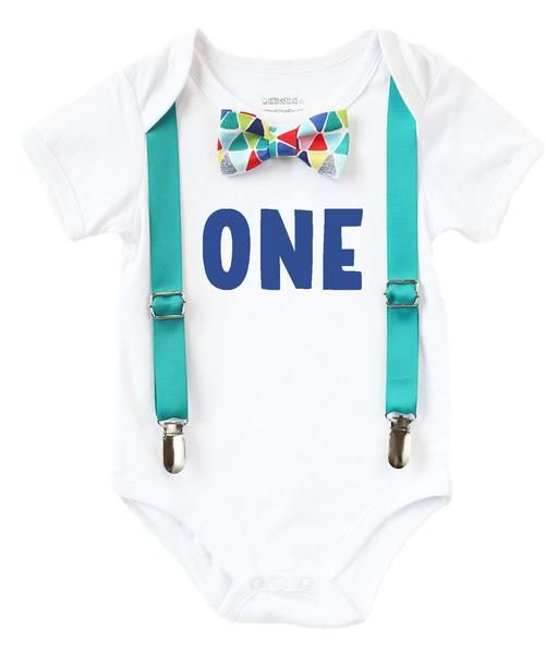 a88fb1d2 First Birthday Outfits Boy with One Teal Suspenders and Rainbow Geometric  Print Bow Tie Birthday Shirt Boy Cake Smash Outfit first birthday onesie blue  teal
