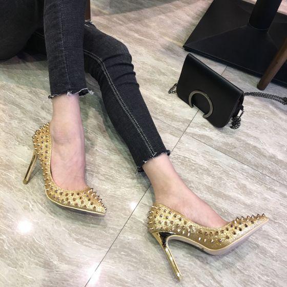 699fc678f96 Sparkly Gold Prom Pumps 2018 Glitter Sequins Rivet Leather 12 cm ...