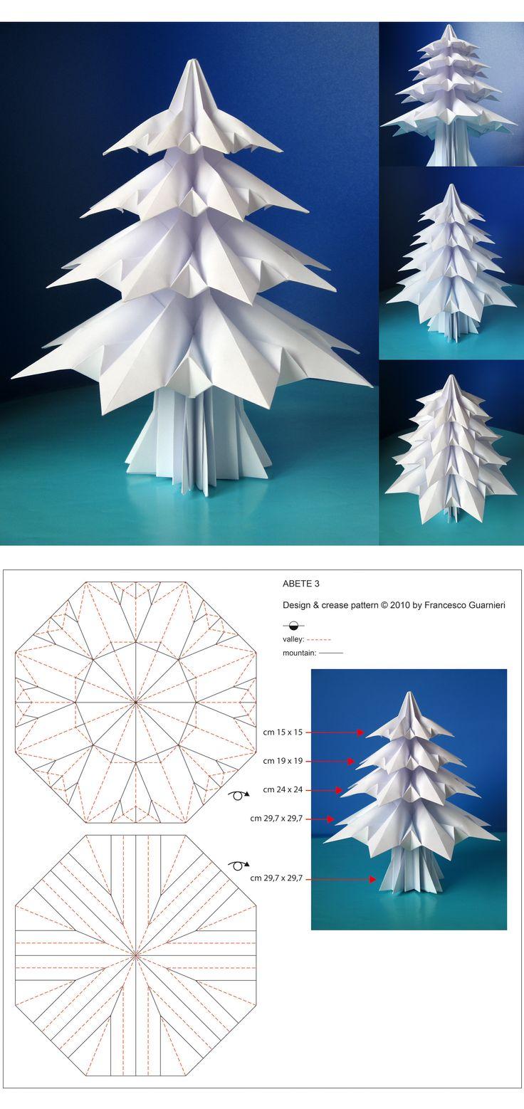 """Origami Christmas Tree. Original model """"Abete 3 - Fir tree 3"""", designed by Francesco Guarnieri, photo: https://www.flickr.com/photos/f_guarnieri/6269110655/  Original Crease Pattern: https://www.flickr.com/photos/f_guarnieri/6274030638/"""