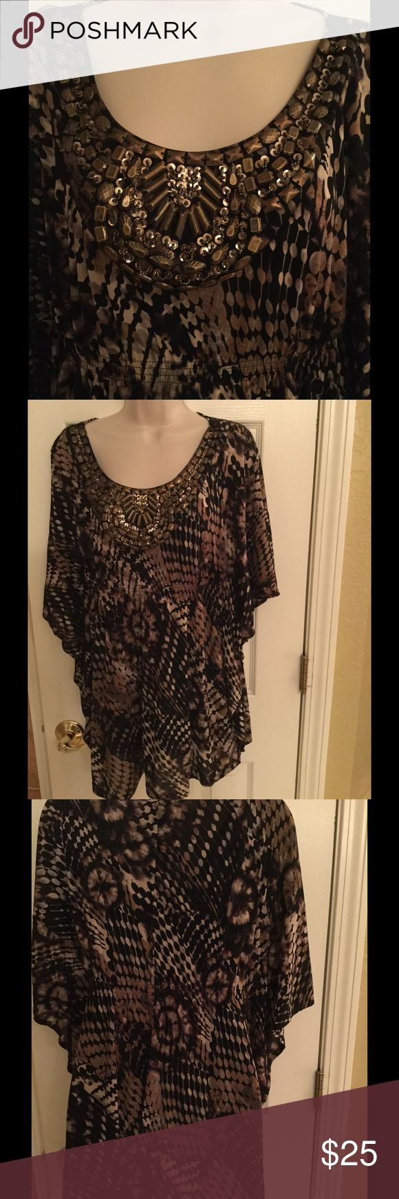 """Small Style & Co. Embellished Batwing Top/Tunic Super cute abstract patterned semi-sheer blouse in shades of black, cream, beige and olive green features metallic jeweled embellishments at the neckline and an elasticized waist. Comes with an attached black camisole. 100% nylon. Approximately 30"""" long and 21"""" across the chest. Runs a bit large so I would say it is really a medium sized top. Style & Co Tops Tunics"""