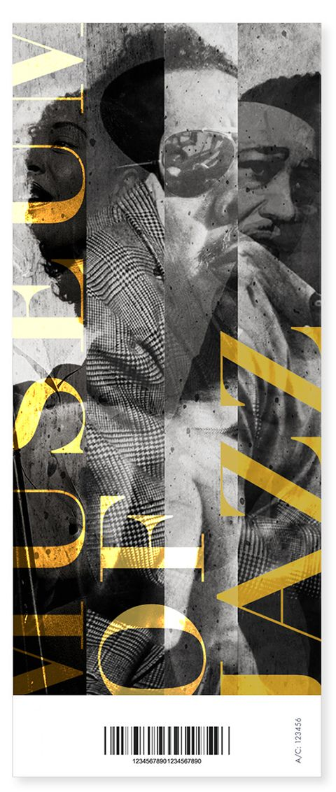 "MUSEUM OF JAZZ by Kasia Dybek, via Behance // text placement & ""quartered"" image columns"