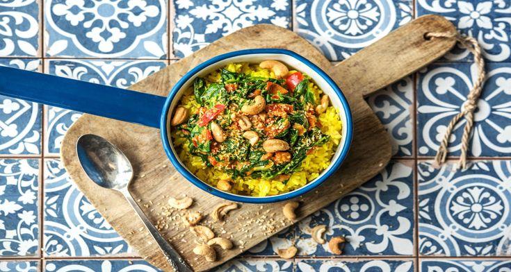 Spinazie-curry met gele rijst Recept | HelloFresh