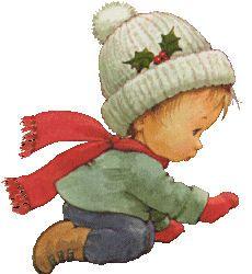 Kindje met muts en rode sjaal