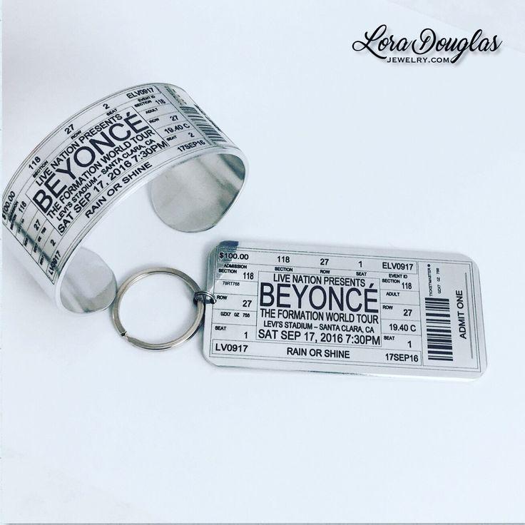 Beyoncé Concert Ticket Cuff & Matching Keychain  #keychain #key #beyoncé #beyonce #formationworldtour #levistadium #concert #christmas #christmasgift #jewelry #shopping #etsy #music #forhim #shopsmall #shophandmade #concerttickets #bracelet #silver