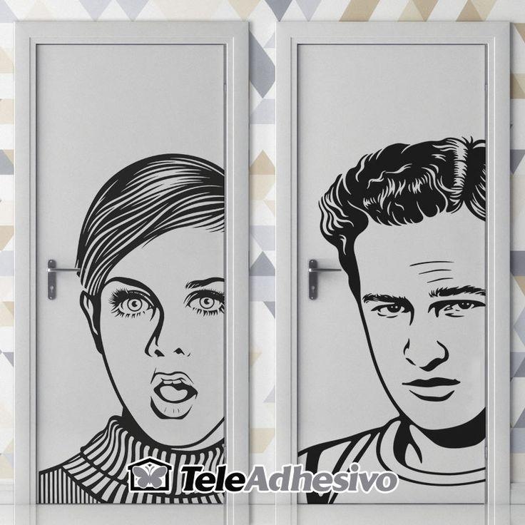 Señal de WC de Twiggy y Marlon Brando #wc #decoracion #vinilo #puerta #TeleAdhesivo