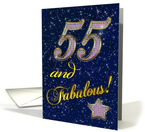 55th Birthday Party With Diamond Stars Effect Card