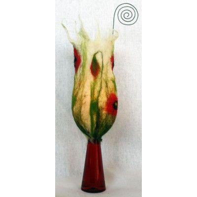 Bimbó alakú piros virágos nemezdíszítésű mécsestartó - Nemezelt dísztárgyak - Mécsestartó