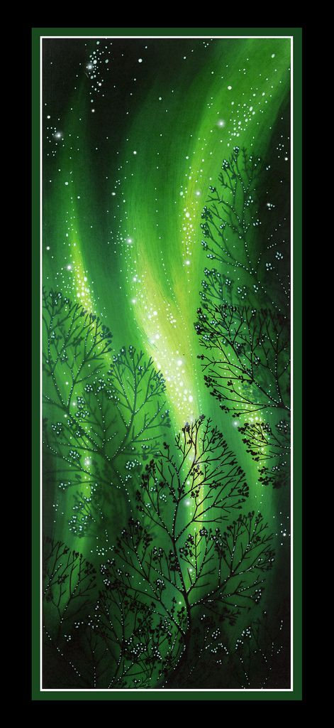 """4.25"""" x 11"""".  Single stamp scene.  Curvy Branch 271G.  Background made using 5 values of green with the lighting created by leaving those areas light by simply not applying the darker values there.  Stars and highlights made using a white gel pen."""