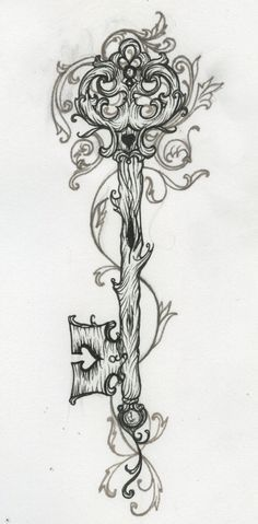 skeleton key tattoo designs | Gorgeous antique key tattoo design