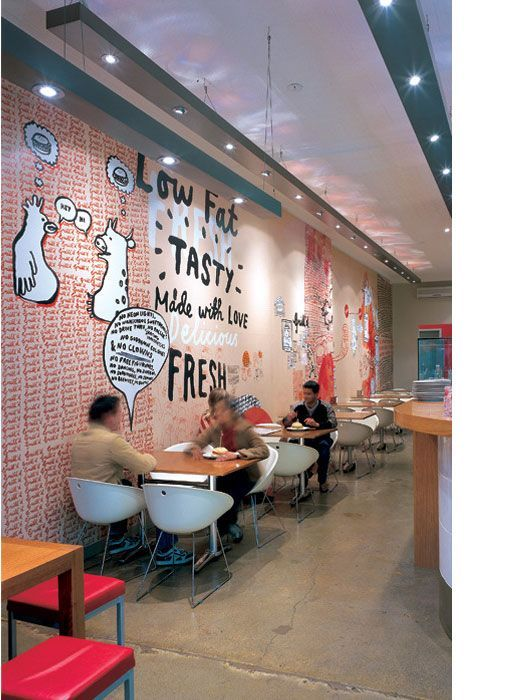 Grill'd, Australian restaurant chain that offers healthy burgers. Design created by Andrea Wilcock of Kudio (while at Fabio Ongarato Design).