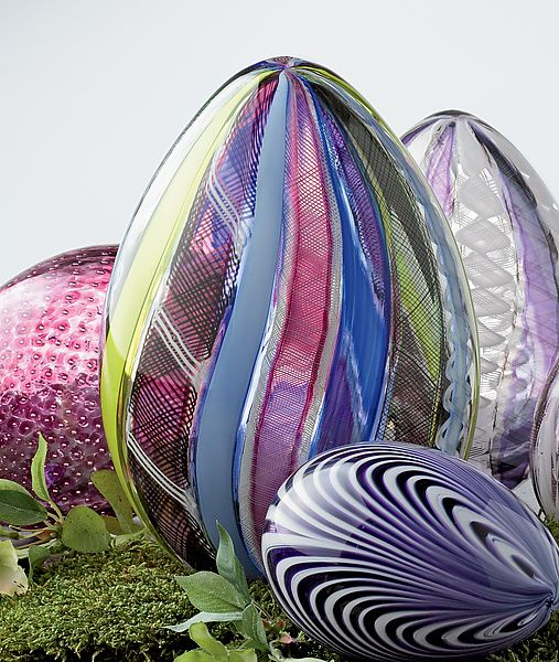 """""""Multicolor Spring Cane Egg""""  Art Glass Sculpture  Created by Paul Lockwood"""