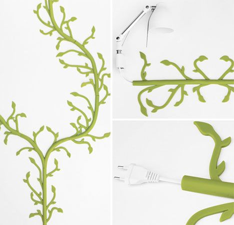 Sometimes, you just can't hide cords to lamps, televisions and other electronic items. Florafil by Tanya de Cruz takes a decorative approach, turning them into vines.