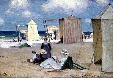"Clarence Alphonse Gagnon  (1881 -1942) ""Het strand van Dinard"""