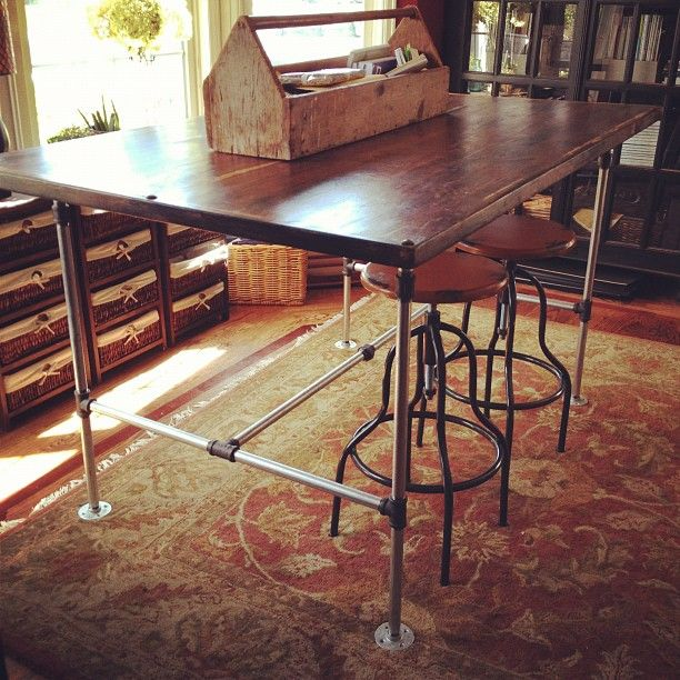 how to make a steel pipe desk