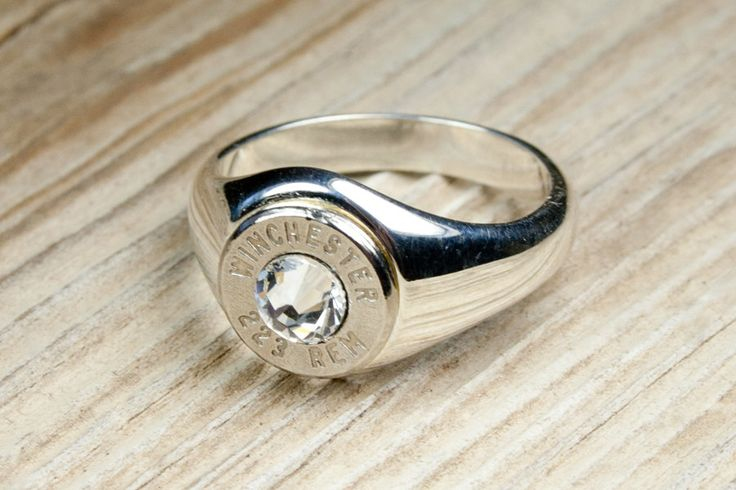 Winchester Solid .925 Sterling Silver Band Nickel Bullet Women's Ring. $39.95, via Etsy.